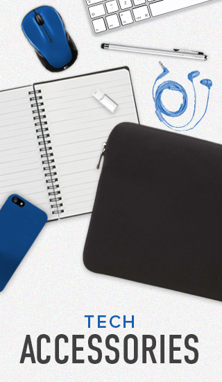 Picture of tech accessories. Click to shop now.